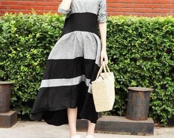 maxi linen dress in black and grey, linen flared dress ,Grey Maxi Dress Tunic Dress / Loose Kaftan Dress (XL,XXL, Plus Size Dresses) A8027