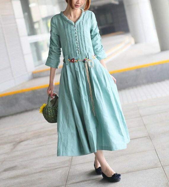 Linen Dress / Maxi Bridesmaid Dress / Summer Party Dress/ Loose Kaftan Dress, XL,XXL, Plus size A8018