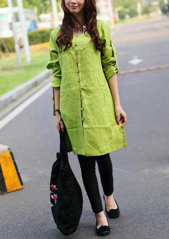 Green Linen Tunic Top - Pleated long tunic shirt - Custom Made