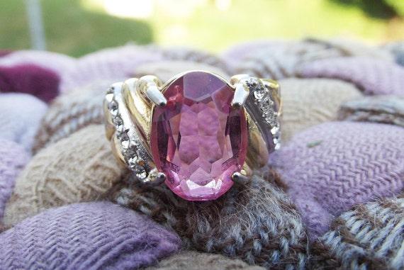 SALE 40% off - Use code GOBBLE Vintage Pink Gemstone Ring 18kt GE Size 8