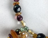 """Purple and Green Glass Bracelet with two Dangles and Gold Clasp    7 1/2"""""""