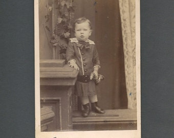 Cabinet Card of a Little Boy with an Ear Trumpet