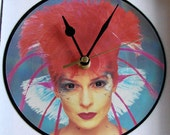 """TOYAH Punk Rock Vinyl Record Clock. Made from a recycled 7"""" record.  Comes in its own box."""