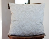 Pillow case - linen decorative pillow covers - boudoir pillows - white damask print  - 18x18 inch size