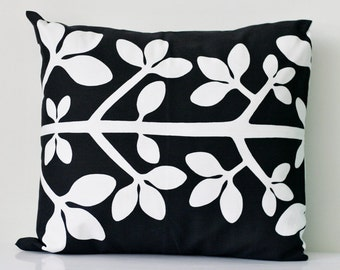Black pillow cover - scandinavian style - black and white floral print - black cushion with white floral motiv  16x16 inch size   0210