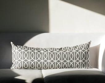 Long lumbar throw pillow cover - Grey dwell studio pattern pillow - 14x36   0202
