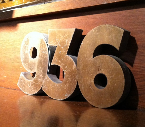 items similar to art deco brass house numbers on etsy. Black Bedroom Furniture Sets. Home Design Ideas