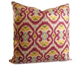 Iman Ikat Pillow Cover in Fuchsia, Turquoise, Yellow, Green - Accent Pillow - Throw Pillow