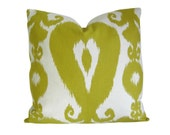 ON SALE - Ikat Pillow Cover in Lime Green & Ivory - Decorative Pillow Cover - Accent Pillow - Throw Pillow - Sofa Pillow