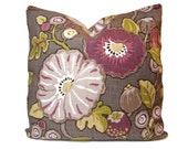 Pillow Cover - P Kaufmann Hip Berry in Purple, Mauve, Citron Green on a Gray Background - Throw Pillow - Accent Pillow