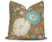 Floral Pillow Cover - Hip Dove Floral in Aqua, Green, Yellow, Wheat, Mocha and Taupe - Lumbar and Square Sizes