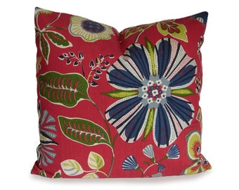 ON SALE - 25% OFF - Decorative Floral Pillow - Contemporary Floral Pillow - Cherry Red, Green, Blue and Ivory  - Accent Pillow