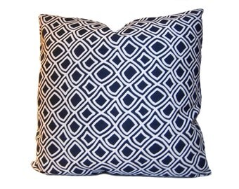 ON SALE - Trellis Decorative Pillow - Modern and Traditional Pillow Cover in a Geometric Lattice Pattern - Navy Blue & White -  Throw Pillow