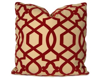 Iman Sultana Trellis Pillow Cover in Red & Beige - Accent Pillow - Decorative Pillow - Throw Pillow