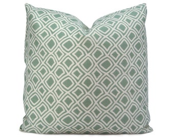 ON SALE - Trellis Decorative Pillow - Modern and Traditional Pillow Cover in a Geometric Lattice Pattern - Sea Glass Blue-Green & White