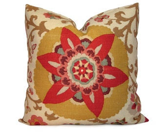 Red and Yellow Suzani Pillow Cover - Silsila Curry Floral Decorative Pillow - Accent Pillow - 18x18 20x20 22x22 or Lumbar Sizes