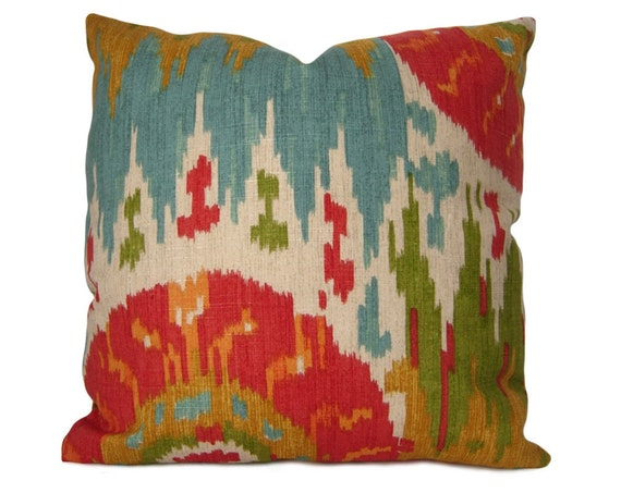Ikat Pillow Cover Navajo Nation Ikat in Red Blue Green