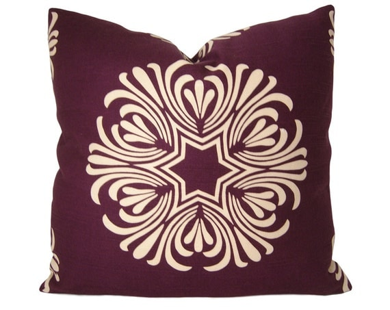 ON SALE - Modern Pillow Cover - Duralee Breckenbridge Purple, Plum and Ivory - Modern Floral Pillow Cover - Modern Accent Pillow