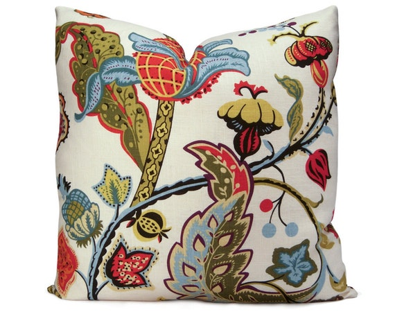 Wilmington Multi Floral Pillow Cover in Red, Blue, Yellow & Green - Decorative Pillow - Accent Pillow - 18x18 20x20 22x22 or Lumbar Sizes