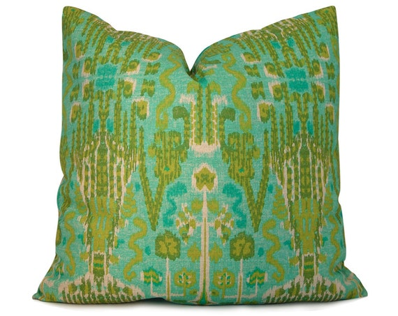 Aqua, Turquoise and Olive Ikat Pillow Cover - Decorative Pillow - Throw Pillow - Accent Pillow