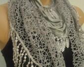 Grey Scarf- Tassel-Lace Edge-2012 Fashion-Turkish Style-Yemeni Style-Turkish Traditional Scarf