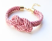 Pink silk cord Bracelet - 24k gold plated - Bridesmaid Wedding gift