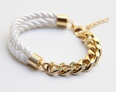 Arm candy - Half and Half: Gold chunky chain and White Silk Bracelet - 24k gold plated