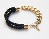 Half and Half: Gold chunky chain and black Silk Bracelet - Stacking Bracelets Stacked Bracelet Set Spring Bracelet Stack
