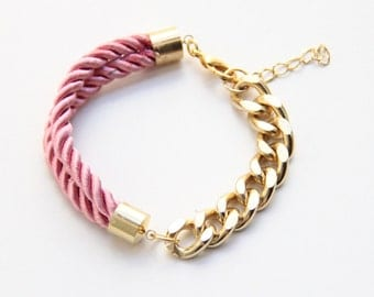Arm candy - Half and Half: Gold chunky chain and Pink Silk Bracelet - 24k gold plated