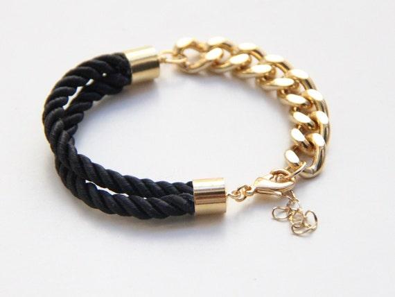 Half and Half: Gold chunky chain and black Silk Bracelet - Stacking Bracelets Stacked Bracelet Set Spring Bracelet Stack