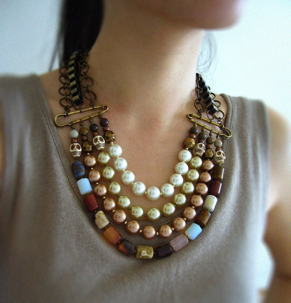 Classic Elegant, Earth Tone Multi Strand Beaded Bib Necklace, cylinder gemstone, coloured glass pearl and magnesite skull