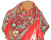 Red,Silvery Multicolor  Turkish Yemeni OYA Scarf .bridal,scarf,authentic,elegant, fashion, personalized design.