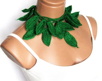 Scarves,Hand made crochet green ivy leafs Lariat Scarf. Fashion Flower Scarves, Necklace...