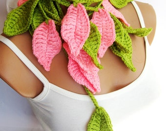 Crochet ivy, Pink Green ivy leafs Lariat Scarf. Fashion Flower Scarves, Necklace...