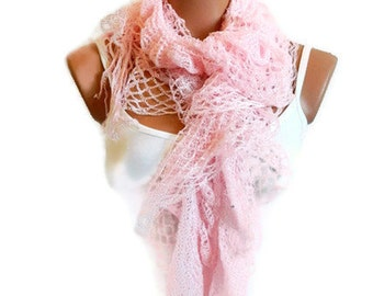 scarves sale, filet knit soft pink women scarf, ruffle design, unique gift for women, spring trends 2014