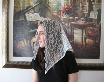 LM4 -- Mid Length Lace Mantilla Chapel Veil Headcovering Church Veil in Ivory