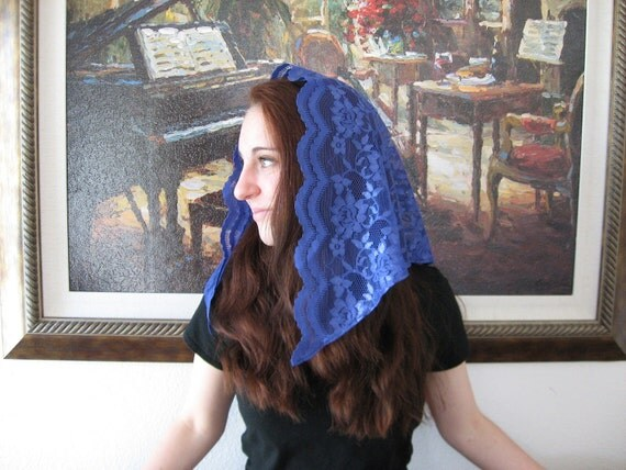 Head Scarf LM6 -- Mid Length Lace Mantilla Chapel Veil Headcovering Church Veil in Blueberry