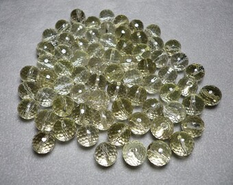 Natural Light Yellow Lemon Quartz Micro Faceted Round Beads 10mm