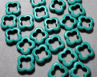Turquoise Howlite Flower Composite Geometric Beads 19mm x 20mm