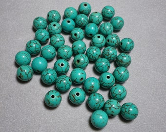 Turquoise Howlite Round Ball Beads 9mm to 10mm