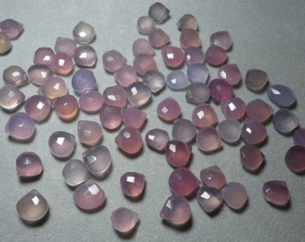 Pink Purple Lavender Chalcedony Faceted Heart Briolettes 11mm - 13mm
