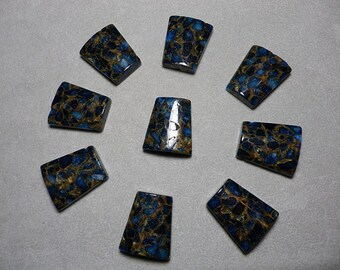 Blue and Gold Jasper Mosaic Trapezoid Beads 28mm x 24mm