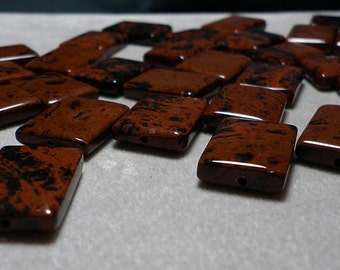 Red and Black Splattered Mahogany Obsidian Rectangle Beads 19mm -  21mm