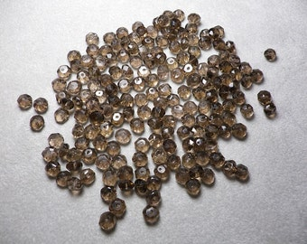 Smoky Quartz Rondelle Faceted Beads 5mm to 6mm