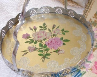 Vintage English Bride Basket Victorian Filigree Breakfast Tray w Bakelite Bun Feet Shabby Pink Roses