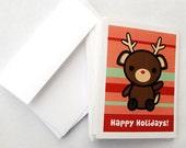 Happy Holidays Reindeer Greeting Card 10 Pack