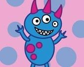 Cute Monster Children's Wall Art, Blue and Pink Digital Art Print, Polka Dot Nursery Decoration