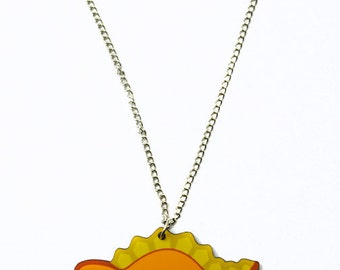 Orange Stegosaurus Necklace, Cute Dinosaur Jewelry, Kawaii Dino Pendant, Yellow Spiked Jurrassic Animal