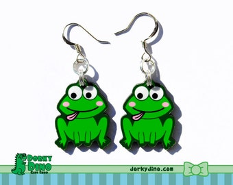 Cute Green Frog Plastic Dangle Earrings, Frog Jewelry