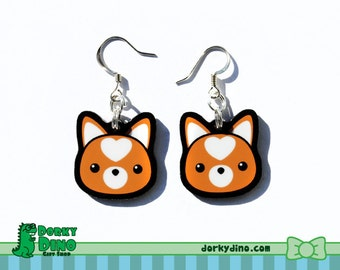 Shiba Inu Dog Plastic Dangle Earrings